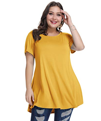 - MONNURO Womens Short Sleeve Casual Loose Fit Flare Swing Tunic Tops Basic T-Shirt Plus Size(Yellow,L)