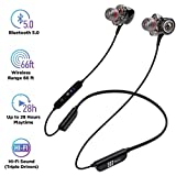 Bluetooth 5.0 Wireless Headphones - 6D Sound Effect - Up to 28 Hours Per Charge, High-End Premium Deep Bass, IPX8 Waterproof Sport in-Ear Earphones - Neckband for Running and Workouts w/ Built-In Mic