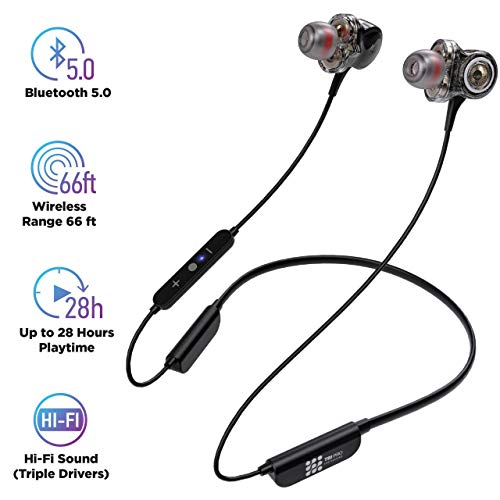 Bluetooth 5.0 Wireless Headphones - 6D Sound Effect - Up to 28 Hours Per Charge, High-End Premium Deep Bass, IPX8 Waterproof Sport in-Ear Earphones - Neckband for Running and Workouts - Pro Earbud Headphones