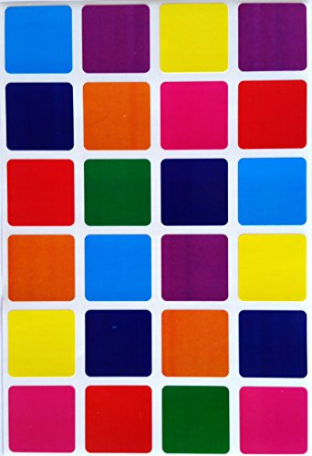 Square Color Coding Labels 1 by 1 inch- assorted colors Stickers Blue, Dark Blue, Red, Purple, Green, Orange, Pink and Yellow - Multi Pack Labels - Classic colors semi gloss 600 pack