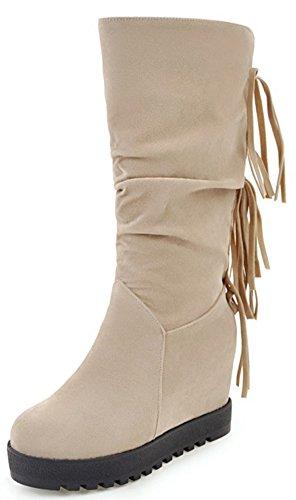 IDIFU Womens Dressy Fringe Hidden Inside Mid Wedge Heel Round Toe Mid Calf Booties Beige
