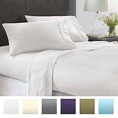 Beckham Hotel Collection Luxury Embossed Stripe Design 4Pc Bed Sheet Set - Cal.King - White/Stripe