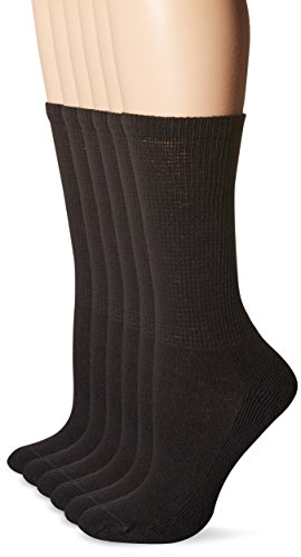 No Nonsense Women's Soft Cushioned Crew Socks 6-Pack, Black, 4-10 (No Nonsense Cushioned Socks)