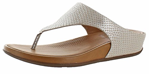 FitFlop Womens Banda Snake-Embossed Leather Toe-Thong Silver Snake/Tan Sandal - 8