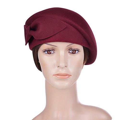 Vbiger Women's Beret Beanie Warm Wool Cap Hat (Wine Red2)