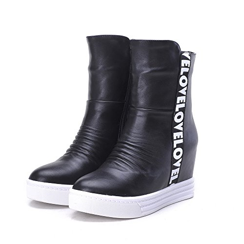 Color Toe Material Allhqfashion Heels Boots Closed Zipper Black High Soft Women's Round Assorted RqqwYAvZ