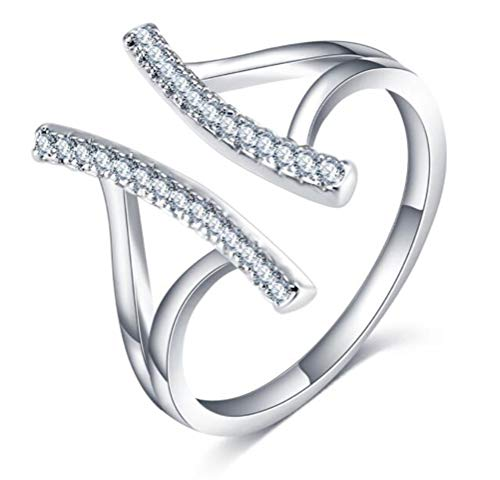 - TEMEGO Sterling Silver Plated Open Bar Ring,2 Rows Small CZ Pave Split Shank Engagement Ring,Size 6