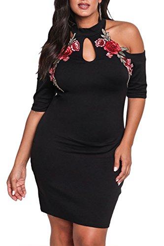 Gloria&Sarah Women's Cold Shoulder Rose Applique Bodycon Plus Size Party Dress,Black,XXL