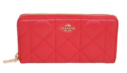 Coach Quilted Leather Accordian Zip Around Wallet Red