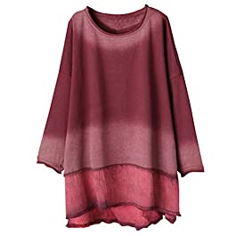 Minibee Women's Round Neck Cotton Sweatshirt Casual Patchwork Gradient Pullover Tunic Tops