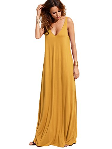 (Verdusa Women's Casual Sleeveless Deep V Neck Knitted Shift Sexy Maxi Long Yellow S)