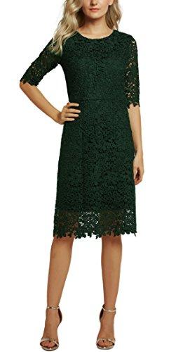 Scuro Donna Manica Corta Partito GoCo Midi Abito Vestiti Verde Cocktail Dresses Elegante per Pizzo Vestito Cerimonia Urban pFwRBnxqAa