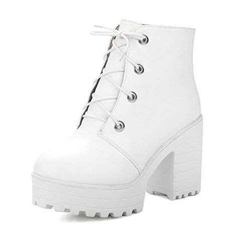 AgooLar Women's Soft Material Lace-up Round Closed Toe High-Heels Low-Top Boots White cQ9Li8Zq