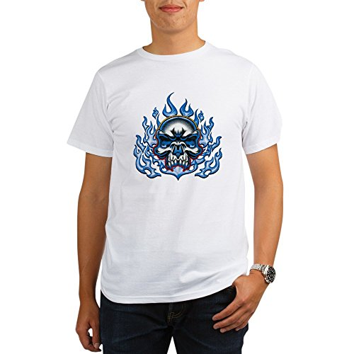 Royal Lion Organic Men's T-Shirt Skull in Blue Flames - Large