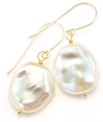 - 14k Gold Filled Freshwater Cultured Pearl Earrings Baroque Button White Large Luster Drops