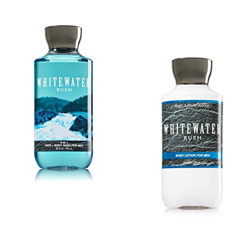 Aromatic Body Care Water - Bath Body Works Men Lotion and Hair Body Wash Set, Whitewater Rush
