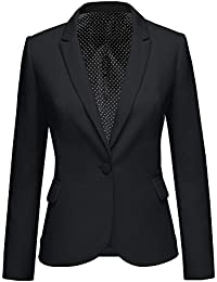 Women's Notched Lapel Pocket Button Work Office Blazer...