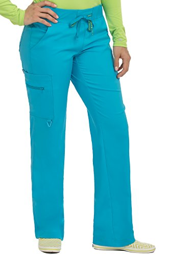 Med Couture Activate Women's Yoga Cargo Pocket Scrub Pant, X-Small Tall, Sky Blue