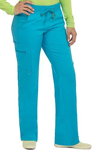 (Med Couture Scrub Pants Women, Yoga Cargo Pocket Scrub Pant, X-Small Tall, Sky Blue)