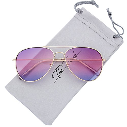 The Fresh Classic Large Metal Frame Oceanic Color Lens Aviator Sunglasses with Gift Box (Gold, Purple - Beach Glasses