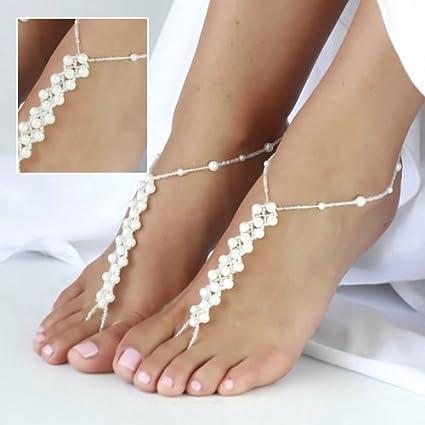656985b5dbb Amazon.com  OTRMAX 1 Pair Imitation Pearl Crochet Foot Jewelry Ankle  Bracelet Barefoot Sandals Beach Chain for Women  Arts