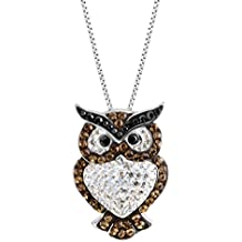 Crystaluxe Owl Pendant Necklace with Swarovski Crystals in Sterling Silver