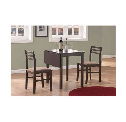 Bistro Transitional Upholstered Cappuccino 3-piece Solid Top Drop-leaf Dinette Set