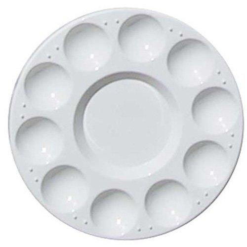 TOOGOO(R) 10-Well Round Professional Strong&Light Plastic Paint Palette Tray-White