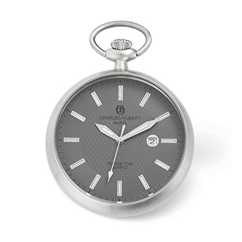 Charles Hubert Stainless Steel Open Face Tritium Quartz Pocket Watch by Jewelry Adviser Charles Hubert Watches