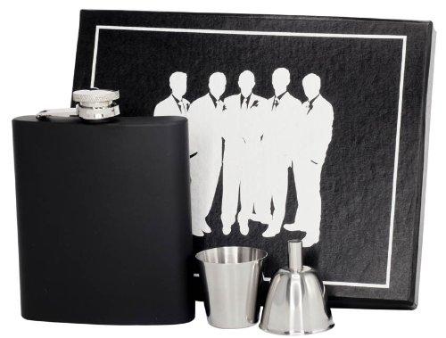 Visol VSET61-1235 Raven Groomsmen II Flask Gift Set Black 8-Ounce