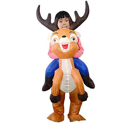 Vantina Xma Elk Deer Inflatable Costume Christmas Santa Cosplay Rider On Suit For Kids Children
