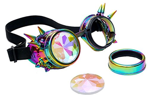 Kaleidoscope Rave Rainbow Crystal Lenses Steampunk Goggles Spike Halloween Colorful (Halloween Rave)