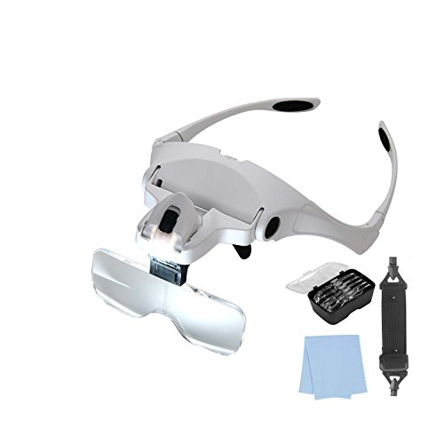Lighted Headset Magnifying Glasses with lights Head Magnifier Loupe Headband for Close Work/Electronics/Eyelash/Crafts/Jewelry/Circuit Watch Repair,1.0X/1.5X/2.0X/2.5X/3.5X by MORDUEDDE (Image #7)
