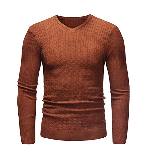 SUUGEN Men's Turtleneck Sweater Ribbed Slim Fit Knitted Pullover Relax Fit Knitwear (l, V-Neck Camel)