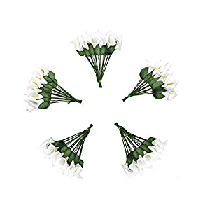 HZOnline Artificial Mini Calla Lily Flower Heads, Fake Floral Bouquet Head for Crafts Scrapbooking Garden Wedding DIY Making Bridal Garland Hair Clips Headbands Decoration (144pcs White) 5