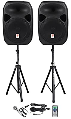 Rockville RPG122K Dual 12-inch Powered Speakers With Stands and Microphone - Black by ROCKVILLE