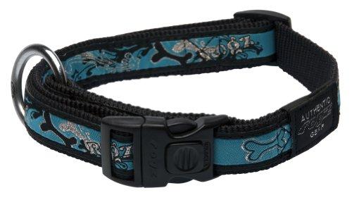 Rogz Fancy Dress Large 3/4-Inch Beachbum Dog Collar, Turquoise Chrome Design