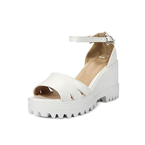 PU AmoonyFashion White Wedges High Solid Platforms amp; Heels Toe Women's Open Buckle 1wrYAqp1F