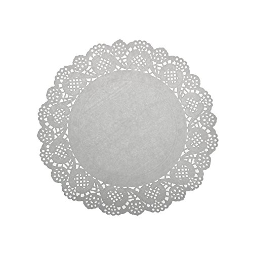 LJY 120 Pieces White Lace Round Paper Doilies Cake Packaging Pads Wedding Tableware Decoration (9.5 Inch) (White Paper Doilies)