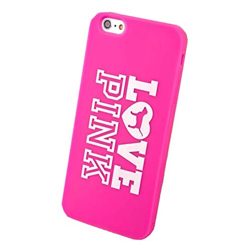 iPhone 6 Case,iPhone 6S Case,Hanjiekj fashionable Victoria's Secret love peach Cover Design Silicone Case for Apple iPhone 6/6S 4.7 inch - Rose