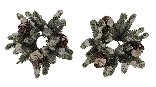 4-inch (.8-inch Inner Ring) Artificial Snowy Mini Angel Pine Cone Candlering Candle Ring Set of 2