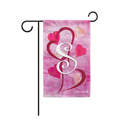KafePross Red Pink Love Heart Valentines Day Decorative Garden Flag Initial Letter Monogram S Decor Banner for Outside 12.5X18 Inch Double Sided