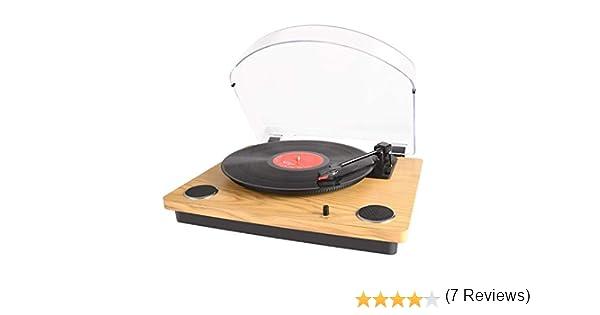 MAX Pad LP Tocadiscos para Vinilo con Altavoces estéreo, conversión de Vinilo a USB, soporta el Brazo de Retorno y Parada automáticamente / Salida RCA ...