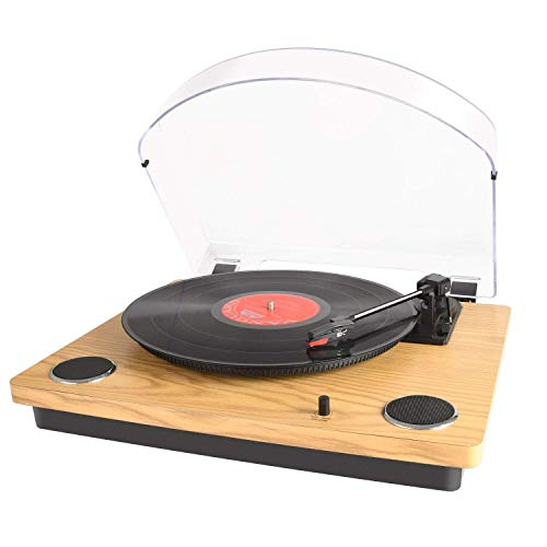 Max Pad LP Record Player for Vinyl with Stereo Speakers, Turntable for Vinyl to USB Conversion, Supports Arm Automatically Return&Stop Feature/RCA Output/Aux in, Nature Wooden Turntable Converter