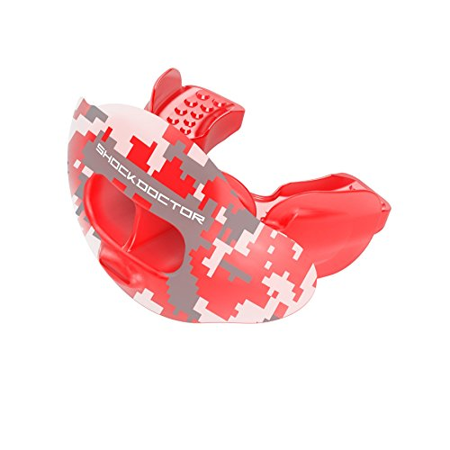 Shock Doctor 3300 Max Airflow Lip Guard Mouthguard With Tether, Trans Red Camouflage, Adult Size