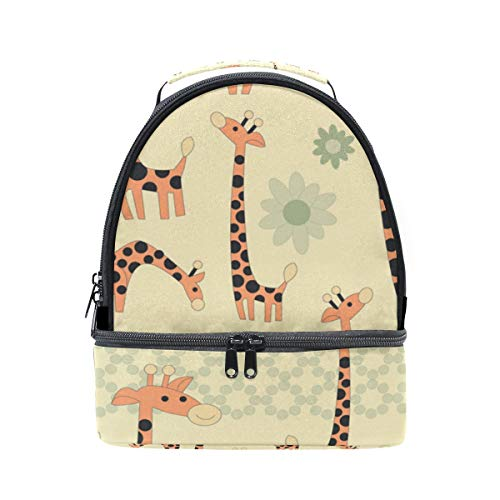 GIOVANIOR Cartoon Giraffes Lunch Bag Insulated Lunch Box Picnic Bag School Cooler Bag for Men Women Kids