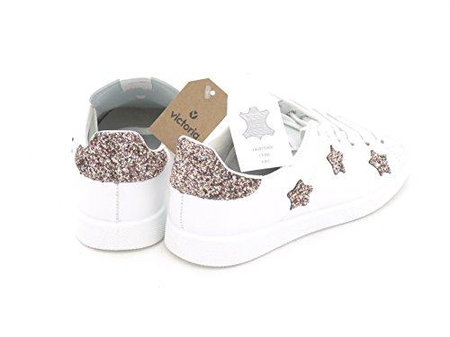 VICTORIA glitter blanca Zapatilla 125129 estrellas rosa PrPvq
