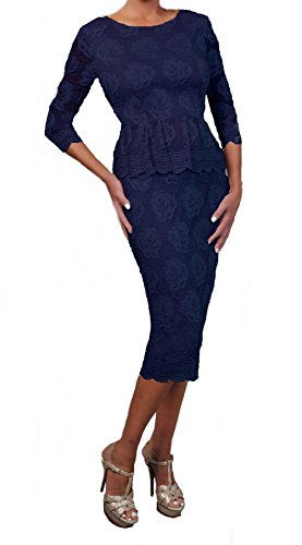Love My Seamless Women's Ladies Mother Of The Bride 3/4 Sleeve Peplum Style Cocktail Lace Dress (X-Large, Navy)