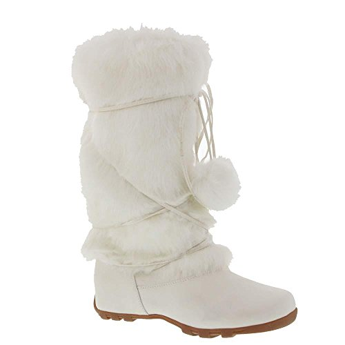 White Super Furry Pom-pom Winter Flat Boots Vegan (Pink And White Cowboy Boots)
