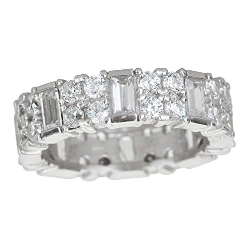 Multi Stone Band (Sterling Silver Cubic Zirconia 925 Round & Baguette Multi Stone Classic Eternity Band Ring)